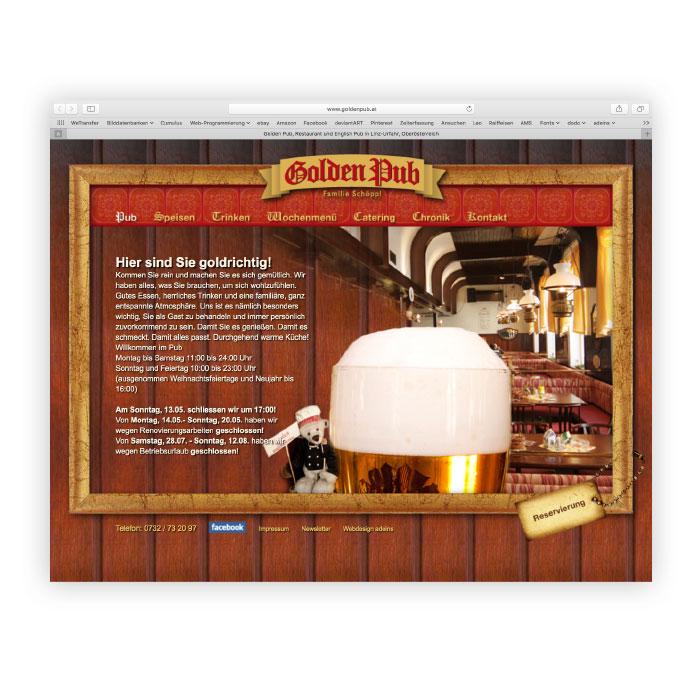 Golden Pub Website Screenshot